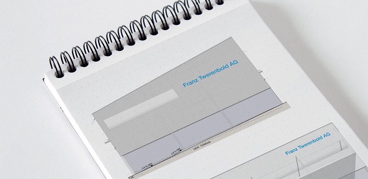 Konzept für Fassadenbeschriftung Twerenbold AG