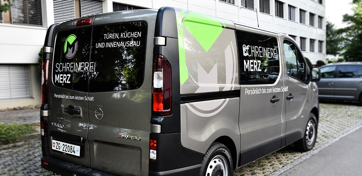 Fahrzeugbeschriftung für Schreinerei Merz GmbH