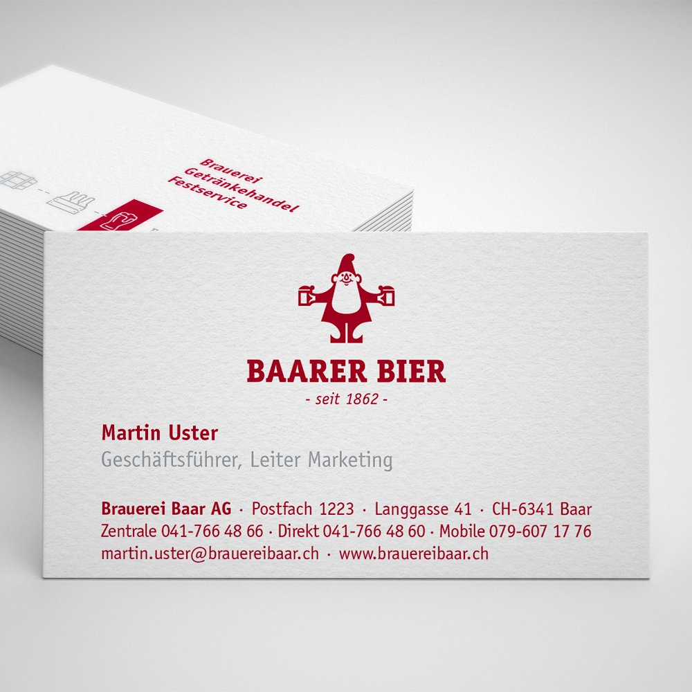 Grafik Visitenkarten Brauerei Baar AG