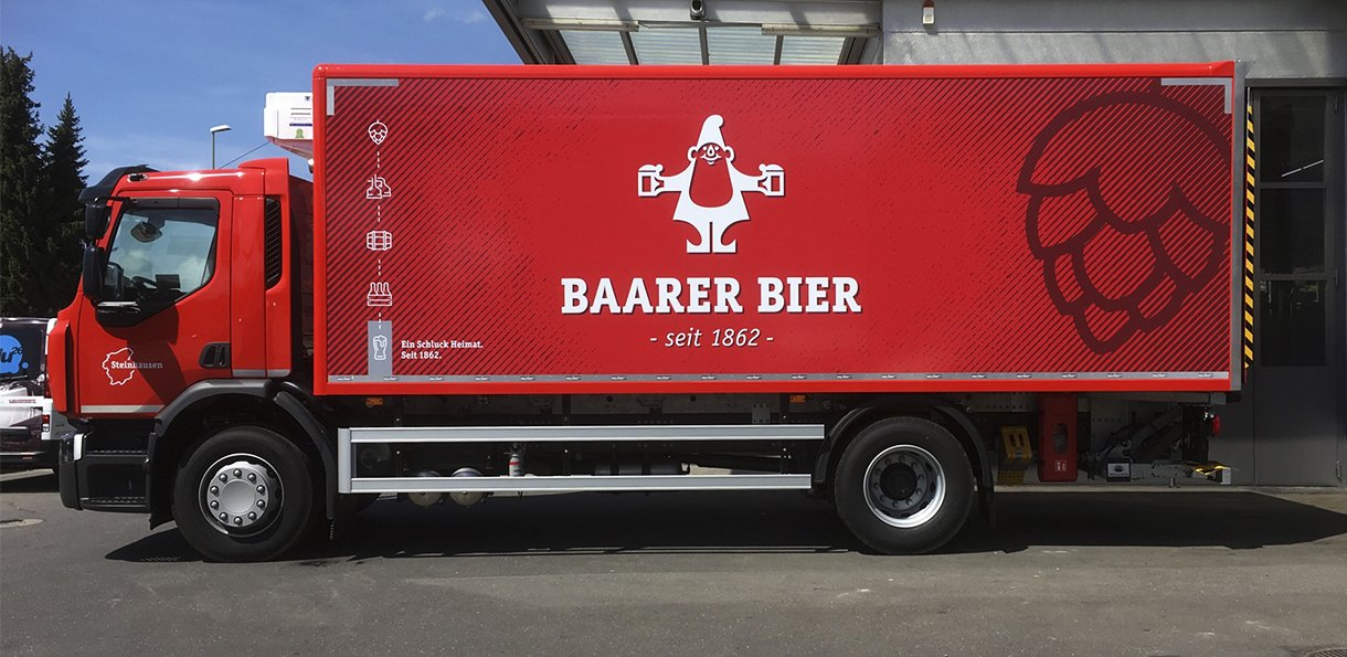 Grafik LKW-Beschriftung Brauerei Baar AG