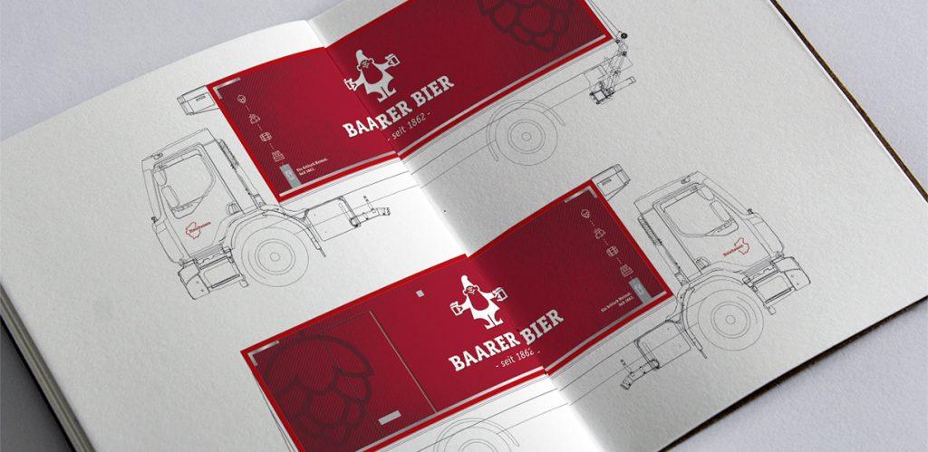Grafik LKW Beschriftung Brauerei Baar AG